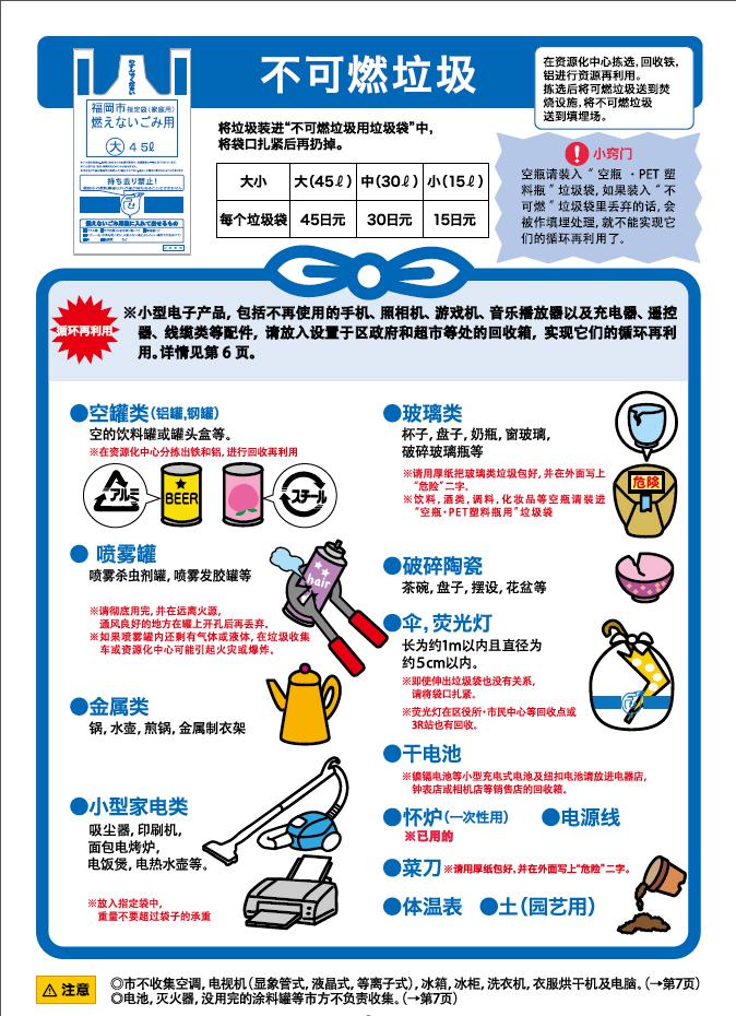 日本福冈市不可燃垃圾分类