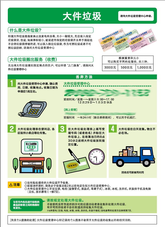 日本福冈市大件垃圾分类