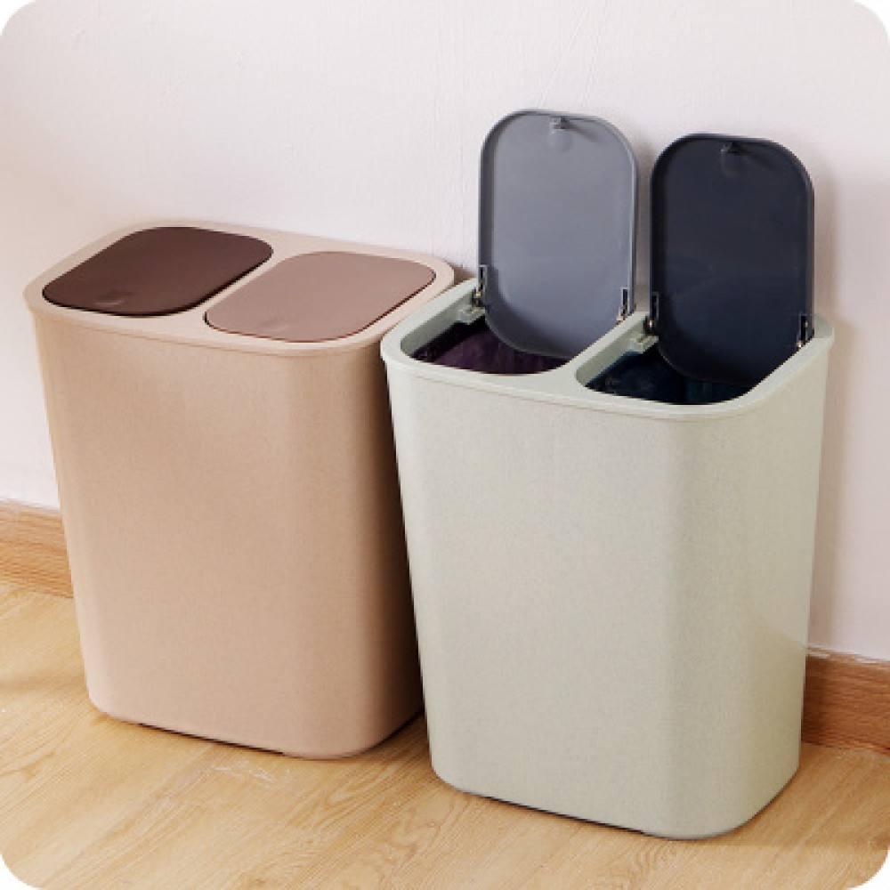家用双盖大号分类垃圾桶厨房客厅卫生间垃圾收纳桶带盖塑料垃圾筒